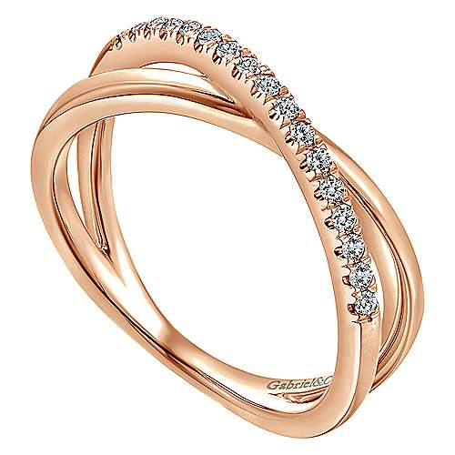 14k Rose Gold Contemporary Wide Band Ladies' Ring angle 3