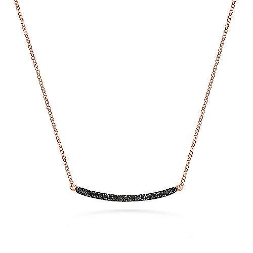 14k Rose Gold Curving Black Diamond Bar Necklace
