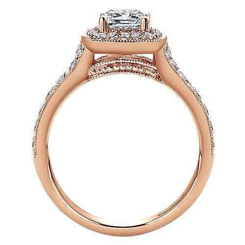 14k Rose Gold Cushion Cut Halo Engagement Ring angle 2