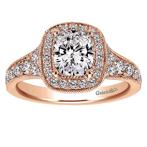 14k Rose Gold Cushion Cut Halo Engagement Ring angle 5