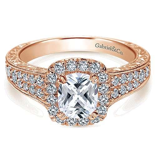 14k Rose Gold Cushion Cut Halo Engagement Ring angle 1