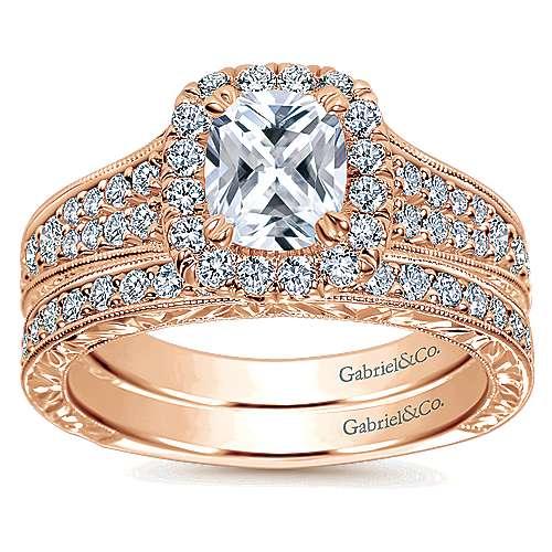 14k Rose Gold Cushion Cut Halo Engagement Ring angle 4
