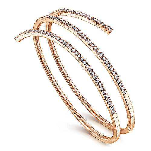 14k Rose Gold Demure Bangle angle 2