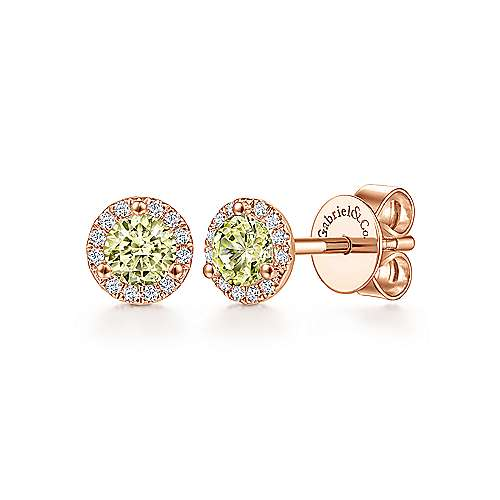 14k Rose Gold Diamond Halo Lemon Quartz Stud Earrings