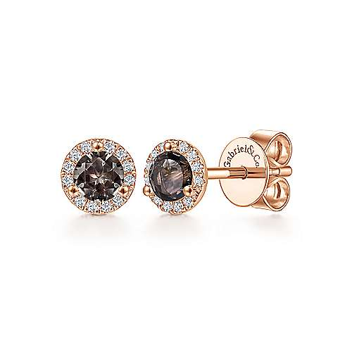 14k Rose Gold Diamond Halo Smoky Quartz Stud Earrings