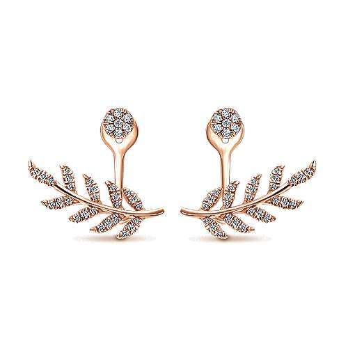 14k Rose Gold Double Earrings Peek A Boo Earrings angle 1
