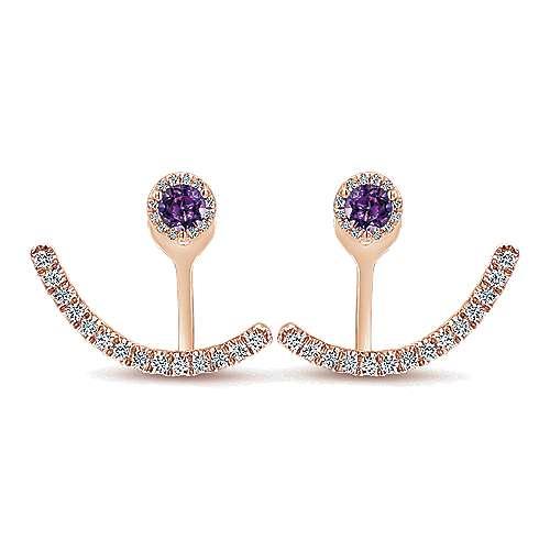 Gabriel - 14k Rose Gold Double Earrings Peek A Boo Earrings