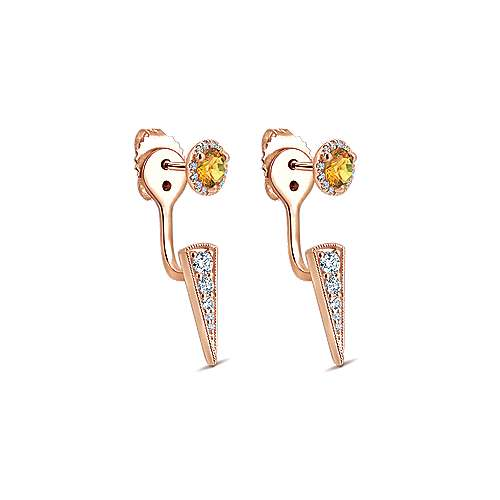 14k Rose Gold Double Earrings Peek A Boo Earrings angle 2