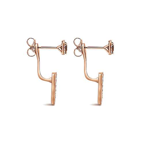 14k Rose Gold Double Earrings Peek A Boo Earrings angle 3