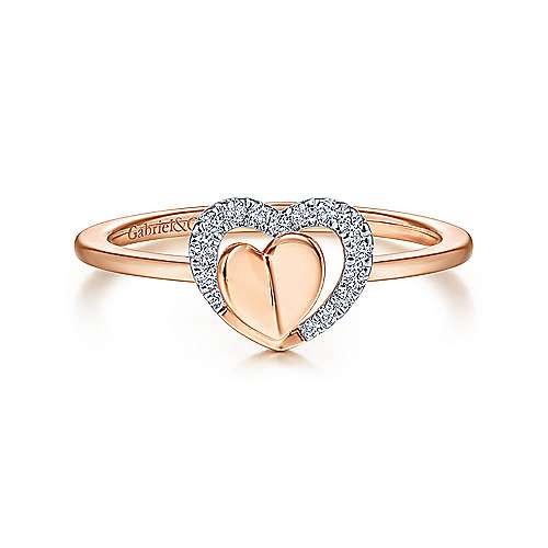 14k Rose Gold Double Heart Diamond Fashion Ring