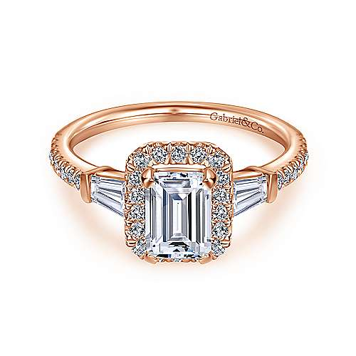 14k Rose Gold Emerald Cut Halo