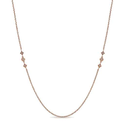 Gabriel - 14k Rose Gold Endless Diamonds Diamond By The Yard Necklace