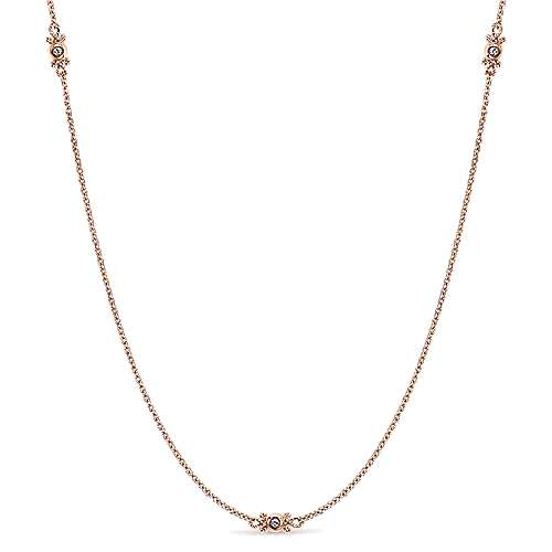 14k Rose Gold Endless Diamonds Station Necklace angle 1