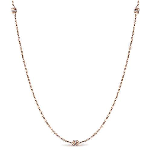 Gabriel - 14k Rose Gold Endless Diamonds Station Necklace