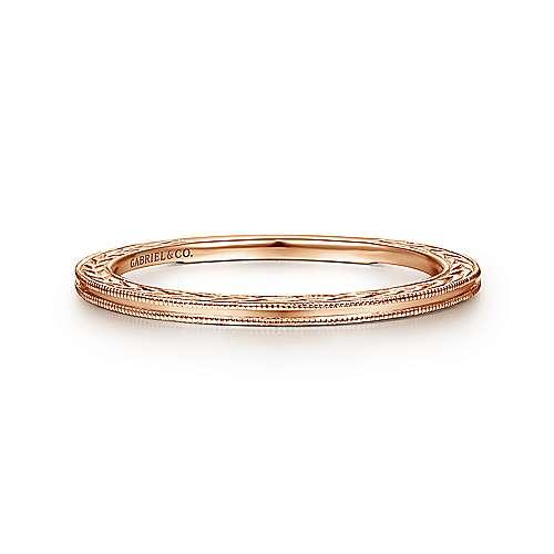 14k Rose Gold Engraved Milgrain Slim Stackable Ring