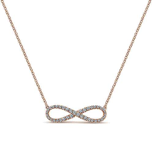 14k Rose Gold Eternal Love Fashion Necklace angle 1