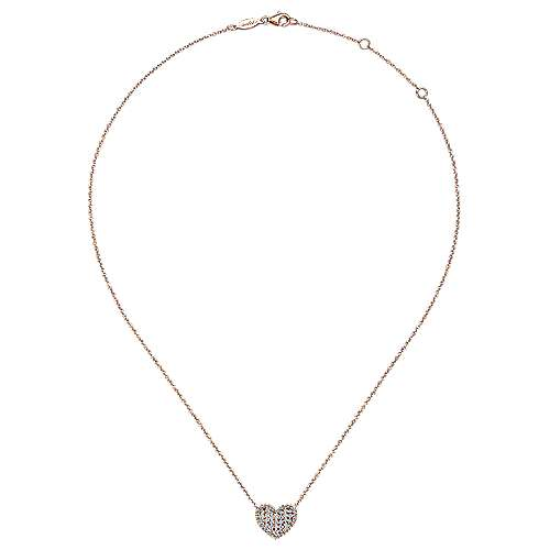 14k Rose Gold Eternal Love Heart Necklace angle 2
