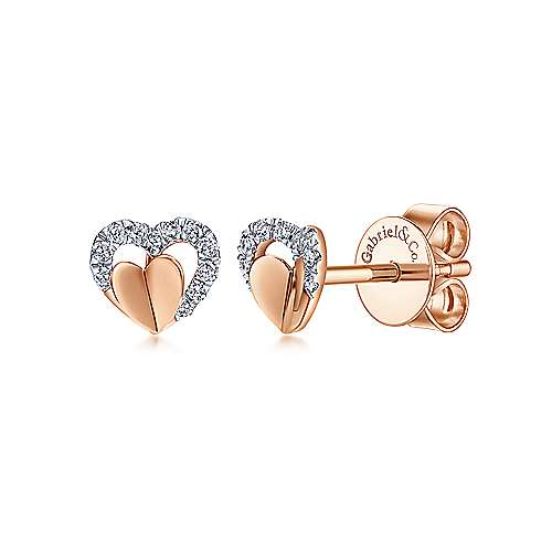 14k Rose Gold Eternal Love Stud Earrings angle 1