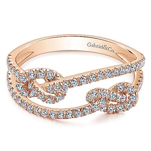 14k Rose Gold Eternal Love Twisted Ladies' Ring angle 1
