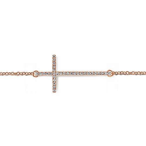 14k Rose Gold Faith Cross Bracelet angle 2