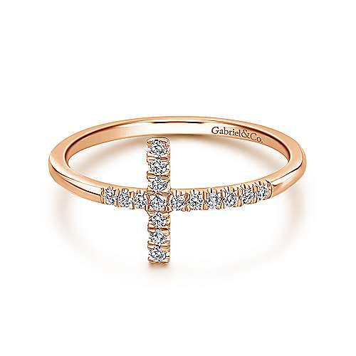 14k Rose Gold Faith Cross Ladies' Ring