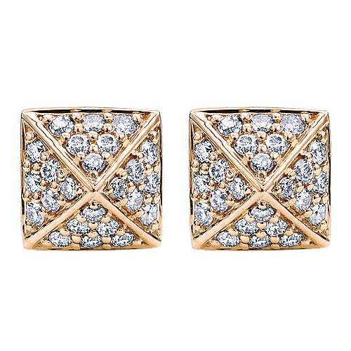 14k Rose Gold Fierce Stud Earrings angle 1