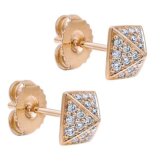 14k Rose Gold Fierce Stud Earrings angle 2