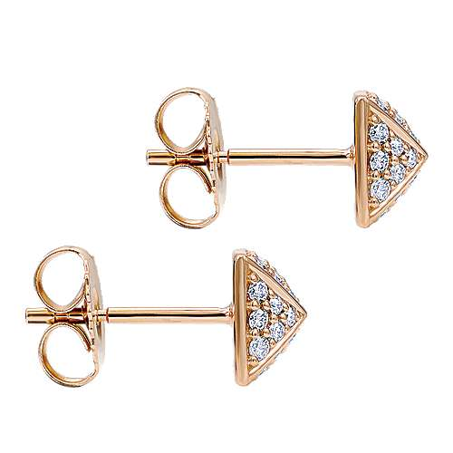 14k Rose Gold Fierce Stud Earrings angle 3