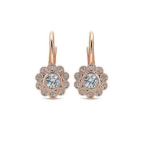 14k Rose Gold Floral Bezel Set Diamond Drop Earrings
