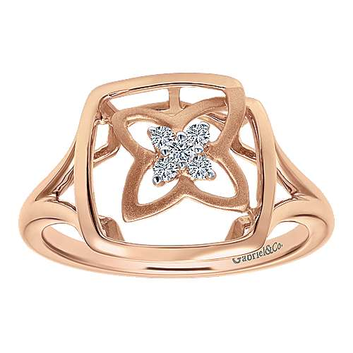 14k Rose Gold Floral Fashion Ladies' Ring angle 4