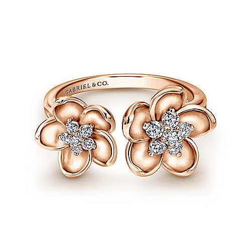Gabriel - 14k Rose Gold Floral Fashion Ladies' Ring