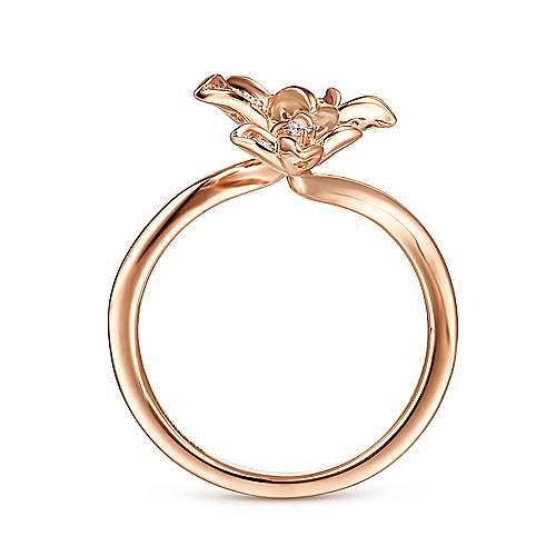 14k Rose Gold Floral Fashion Ladies