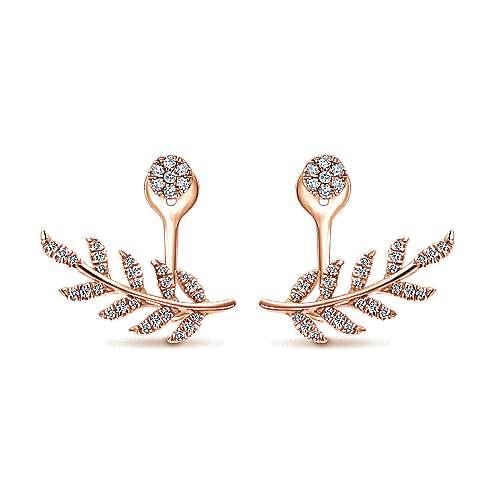 14k Rose Gold Floral Peek A Boo Earrings