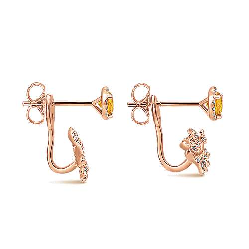 14k Rose Gold Floral Peek A Boo Earrings angle 3