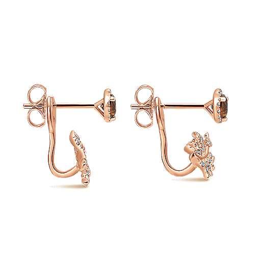14k Rose Gold Floral Peek A Boo Earrings angle 3