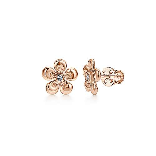 Gabriel - 14k Rose Gold Floral Round Diamond Stud Earrings