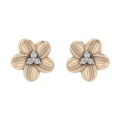 14k Rose Gold Floral Stud Earrings angle 1
