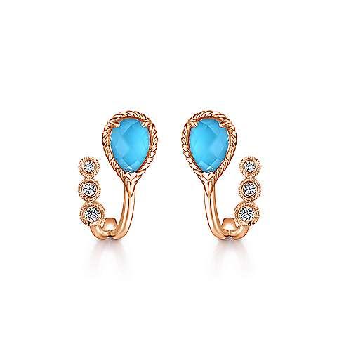 14k Rose Gold Hampton J Curve Earrings angle 1