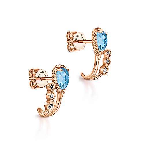 14k Rose Gold Hampton J Curve Earrings angle 2