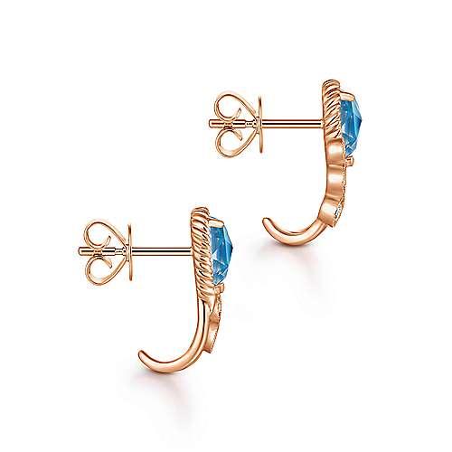 14k Rose Gold Hampton J Curve Earrings angle 3