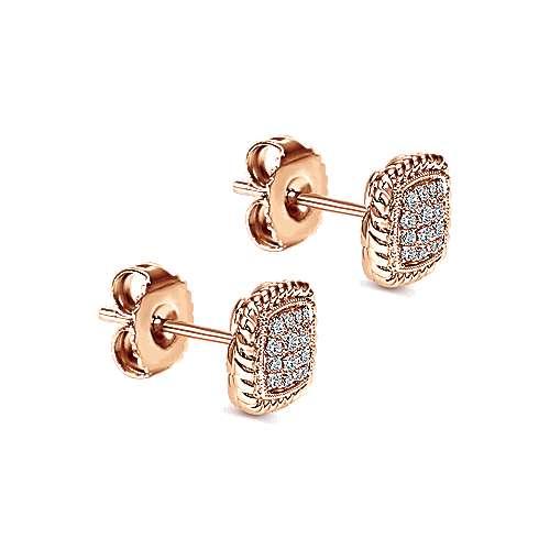 14k Rose Gold Hampton Stud Earrings angle 2