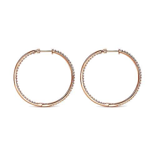 14k Rose Gold Hoops Classic Hoop Earrings angle 2