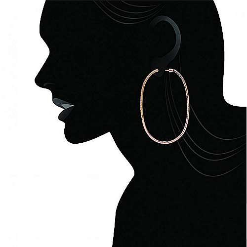 14k Rose Gold Hoops Classic Hoop Earrings angle 5