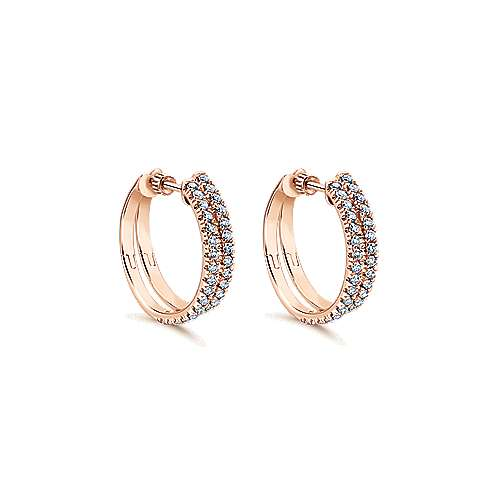 14k Rose Gold Hoops Classic Hoop Earrings angle 1
