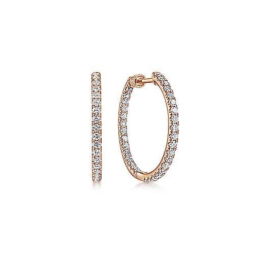 14k Rose Gold Hoops Classic Hoop Earrings angle 1