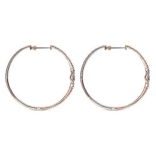 14k Rose Gold Hoops Intricate Hoop Earrings angle 2