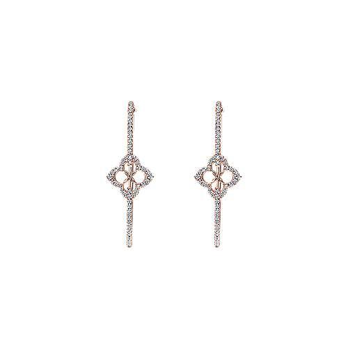 14k Rose Gold Hoops Intricate Hoop Earrings angle 3