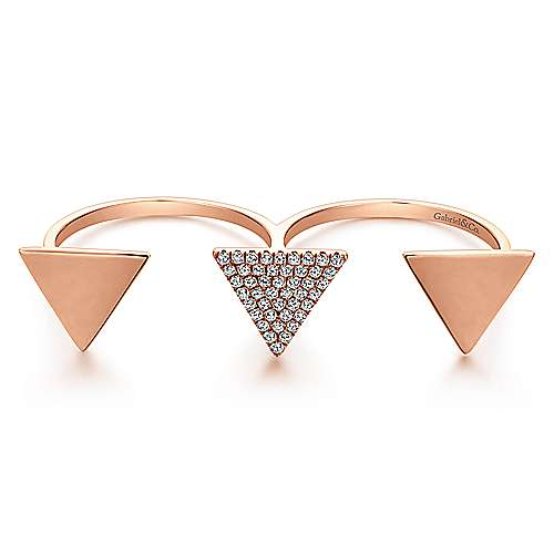 14k Rose Gold Kaslique Double Ring Ladies' Ring angle 1