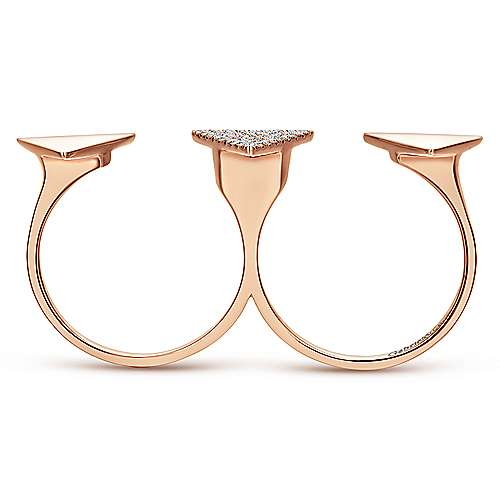 14k Rose Gold Kaslique Double Ring Ladies' Ring angle 2
