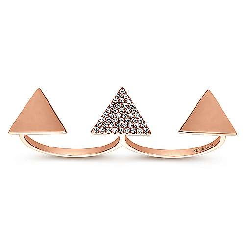 14k Rose Gold Kaslique Double Ring Ladies' Ring angle 4